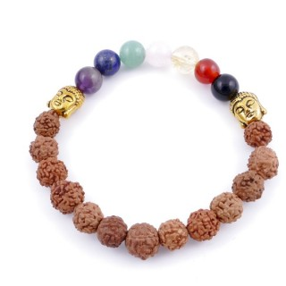 36303-20 SYNTHETIC RUDRAKSHA AND 7 CHAKRA STONE 8 MM ELASTIC BRACELET