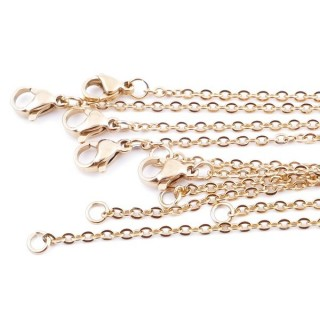 37725 PACK OF 5 GOLDEN STAINLESS STEEL 2 MM X 60 CM CHAINS