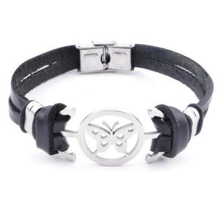 36908-10 STAINLESS STEEL AND BLACK LEATHER BRACELET