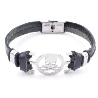 36908-23 STAINLESS STEEL AND BLACK LEATHER BRACELET