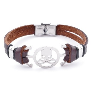 36908-33 STAINLESS STEEL AND BROWN LEATHER BRACELET