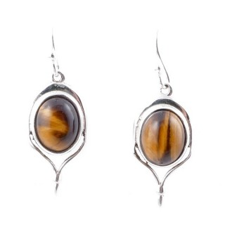 58003-11 STERLING SILVER 23 X 11 MM FISH HOOK EARRINGS WITH TIGER'S EYE