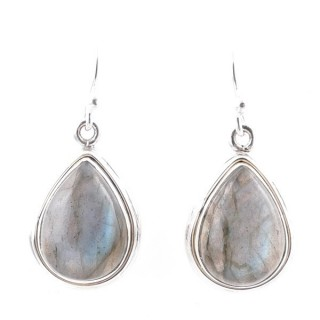 58004-08 STERLING SILVER 19 X 13 MM FISH HOOK EARRINGS WITH LABRADORITE