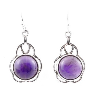 58006-06 STERLING SILVER 23 X 14 MM FISH HOOK EARRINGS WITH AMETHYST