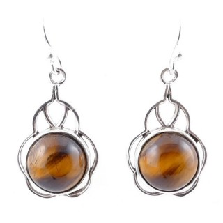 58006-11 STERLING SILVER 23 X 14 MM FISH HOOK EARRINGS WITH TIGER'S EYE