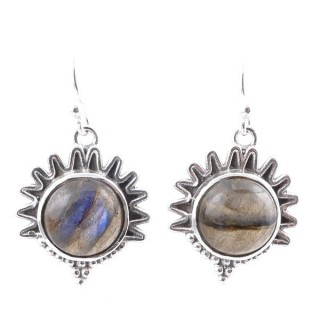 58007-08 STERLING SILVER 21 X 17 MM FISH HOOK EARRINGS WITH LABRADORITE
