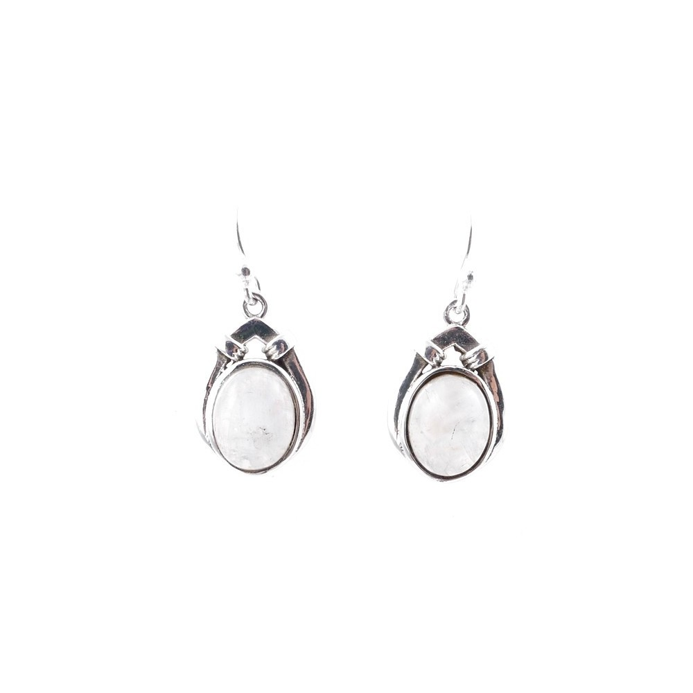 58008-05 STERLING SILVER 17 X 12 MM FISH HOOK EARRINGS WITH MOONSTONE