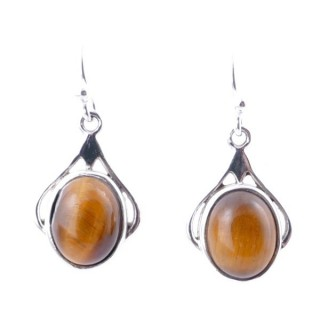 58010-11 STERLING SILVER 18 X 12 MM FISH HOOK EARRINGS WITH TIGER'S EYE