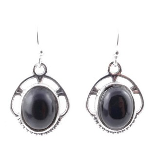 58011-04 STERLING SILVER 17 X 14 MM FISH HOOK EARRINGS WITH ONYX
