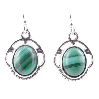 58011-10 STERLING SILVER 17 X 14 MM FISH HOOK EARRINGS WITH MALACHITE