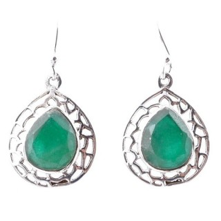 58012-03 STERLING SILVER 20 X 16 MM FISH HOOK EARRINGS WITH EMERALD