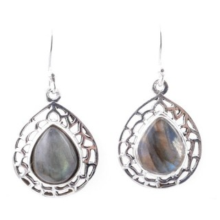 58012-08 STERLING SILVER 20 X 16 MM FISH HOOK EARRINGS WITH LABRADORITE