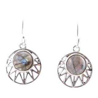 58015-08 STERLING SILVER 15 MM FISH HOOK EARRINGS WITH LABRADORITE