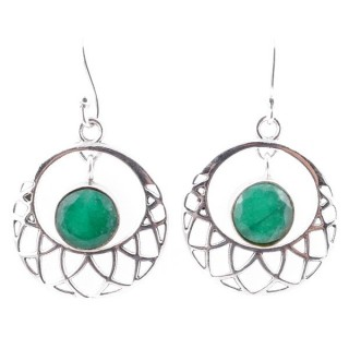 58016-03 STERLING SILVER 21 MM FISH HOOK EARRINGS WITH EMERALD
