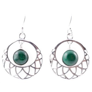 58016-10 STERLING SILVER 21 MM FISH HOOK EARRINGS WITH MALACHITE