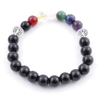 36303-12 ONYX AND 7 CHAKRA STONE 8 MM ELASTIC BRACELET