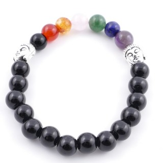 36303-17 ONYX AND 7 CHAKRA STONE 8 MM ELASTIC BRACELET