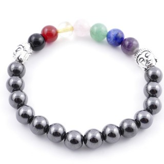 36303-19 MAGNETIC HEMATITE AND 7 CHAKRA STONE 8 MM ELASTIC BRACELET