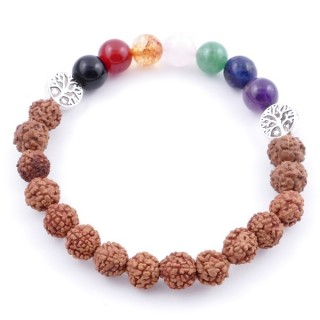 36303-15 SYNTHETIC RUDRAKSHA AND 7 CHAKRA STONE 8 MM ELASTIC BRACELET