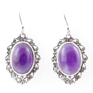 58014-06 STERLING SILVER 23 X 16 MM FISH HOOK EARRINGS WITH AMETHYST