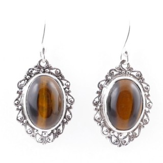 58014-11 STERLING SILVER 23 X 16 MM FISH HOOK EARRINGS WITH TIGER'S EYE