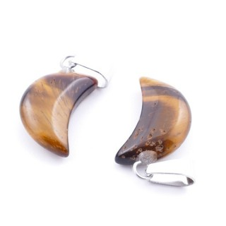 37555-09 PACK OF 2 MOON SHAPED 18 X 10 MM STONE PENDANTS IN TIGER'S EYE