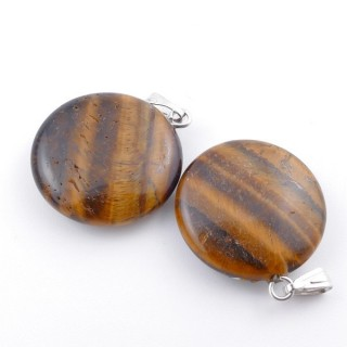 37554-09 PACK OF 2 CIRCLE SHAPED 20 MM STONE PENDANTS IN TIGER'S EYE