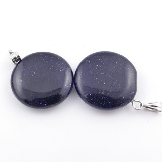 37554-11 PACK OF 2 CIRCLE SHAPED 20 MM STONE PENDANTS IN BLUE SANDSTONE