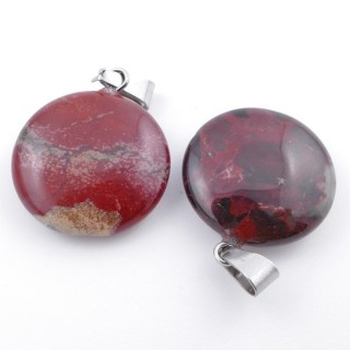 37554-15 PACK OF 2 CIRCLE SHAPED 20 MM STONE PENDANTS IN RED JASPER