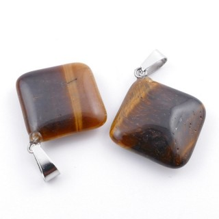 37553-09 PACK OF 2 RHOMBUS SHAPED 20 MM STONE PENDANTS IN TIGER'S EYE