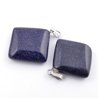 37553-11 PACK OF 2 RHOMBUS SHAPED 20 MM STONE PENDANTS IN BLUE SANDSTONE