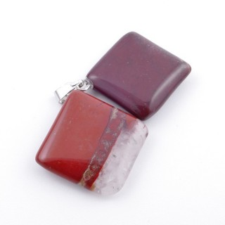 37553-15 PACK OF 2 RHOMBUS SHAPED 20 MM STONE PENDANTS IN RED JASPER