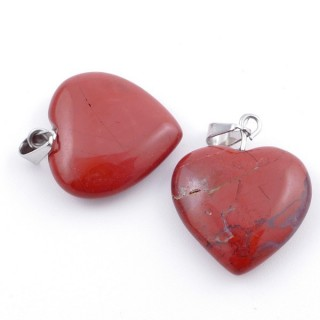 33740-22 PACK OF 2 HEART SHAPED 20 MM STONE PENDANTS IN RED JASPER