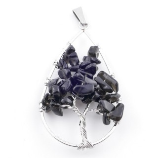 37558-04 DROP SHAPED METAL 5 X 3 CM PENDANT WITH ONYX STONES