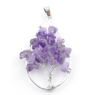 37558-05 DROP SHAPED METAL 5 X 3 CM PENDANT WITH AMETHYST STONES