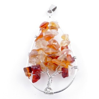 37558-07 DROP SHAPED METAL 5 X 3 CM PENDANT WITH CARNELIAN STONES