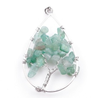 37558-12 DROP SHAPED METAL 5 X 3 CM PENDANT WITH GREEN AVENTURINE STONES