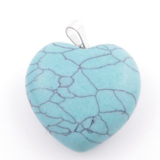 37557-03 NATURAL STONE 30 MM TURQUOISE HEART SHAPED PENDANT