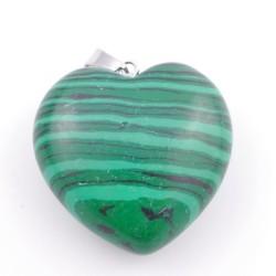 37557-06 SYNTHETIC STONE 30 MM MALACHITE HEART SHAPED PENDANT