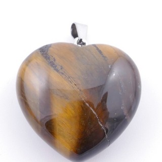 37557-09 NATURAL STONE 30 MM TIGER'S EYE HEART SHAPED PENDANT