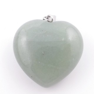 37557-12 NATURAL STONE 30 MM GREEN AVENTURINE HEART SHAPED PENDANT