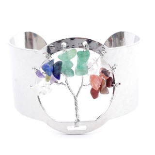 37320-00 FASHION JEWELRY METAL CUFF BANGLE WITH 7 CHAKRA STONES