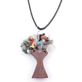 37323-00 WAX CORD 45 CM NECKLACE & WOODEN TREE WITH ASSORTED STONES