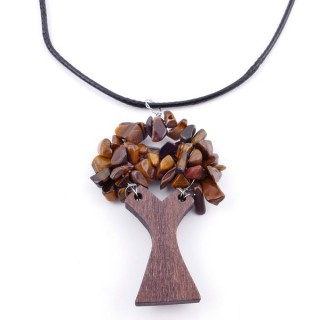37323-09 WAX CORD 45 CM NECKLACE & WOODEN TREE WITH TIGER'S EYE STONES