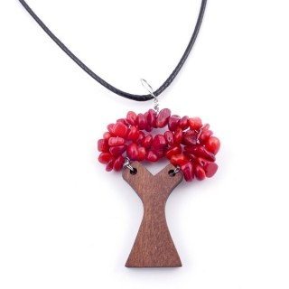 37323-49 WAX CORD 45 CM NECKLACE & WOODEN TREE WITH SYNTHETIC CORAL STONES