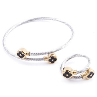37884-18 SET OF LADIES MATCHING ADJUSTABLE BRACLET & RING IN STAINLESS STEEL WIRE