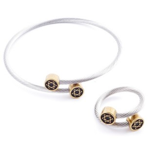 37884-17 SET OF LADIES MATCHING ADJUSTABLE BRACLET & RING IN STAINLESS STEEL WIRE