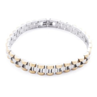 37878 SILVER & GOLD STAINLESS STEEL 22 CM X 8,5 MM BRACELET