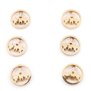 31203-60 PACK OF 3 PAIRS OF STAINLESS STEEL POST EARRINGS IN GOLD COLOUR
