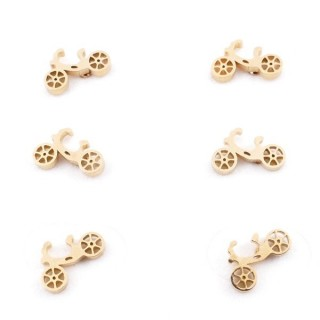 31203-61 PACK OF 3 PAIRS OF STAINLESS STEEL POST EARRINGS IN GOLD COLOUR